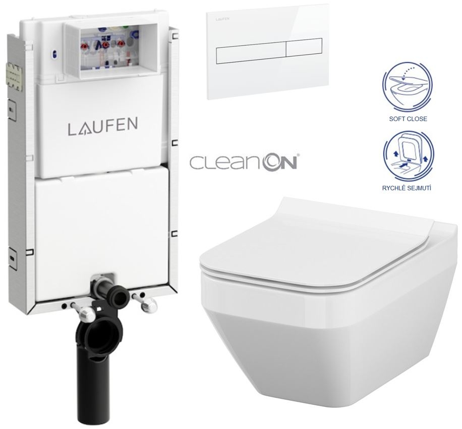 LAUFEN Podomít. systém LIS TW1 SET s bielym tlačidlom + WC CERSANIT CLEANON CREA štvorec + SEDADLO (H8946630000001BI CR2)