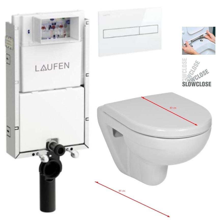 LAUFEN Podomít. systém LIS TW1 SET s bielym tlačidlom + WC JIKA LYRA PLUS 49 + SEDADLO duraplastu SLOWCLOSE (H8946630000001BI LY4)