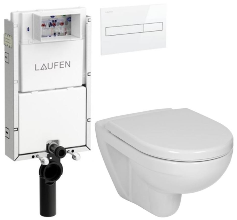 LAUFEN Podomít. systém LIS TW1 SET s bielym tlačidlom + WC JIKA LYRA PLUS + SEDADLO duraplastu (H8946630000001BI LY6)