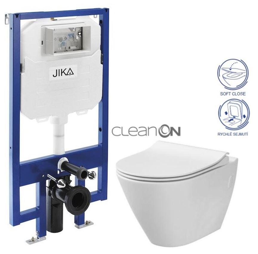 predstenový inštalačný 8 cm systém bez tlačidla + WC CERSANIT CLEANON CITY (H894652 X CI1)