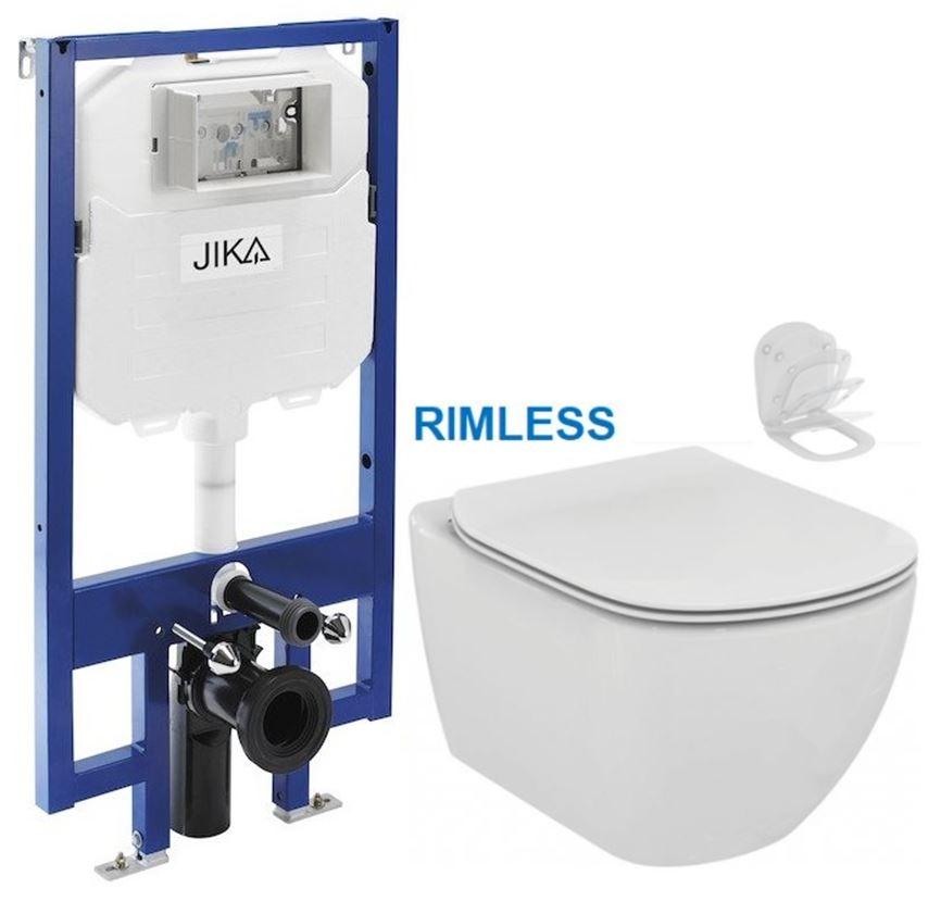 predstenový inštalačný 8 cm systém bez tlačidla + WC Ideal Standard Tesi se sedlem RIMLESS (H894652 X TE2)