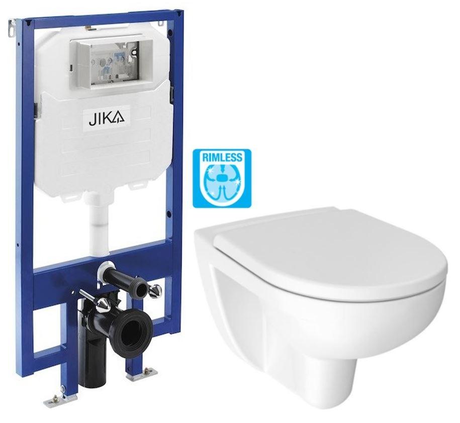 predstenový inštalačný 8 cm systém bez tlačidla + WC JIKA LYRA PLUS RIMLESS + SEDADLO duraplastu (H894652 X LY1)