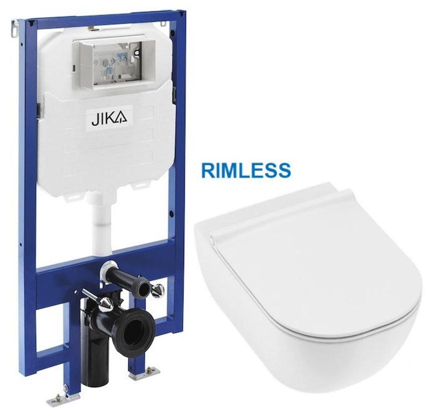predstenový inštalačný 8 cm systém bez tlačidla + WC JIKA MIO + SEDADLO SLIM (H894652 X IO1)