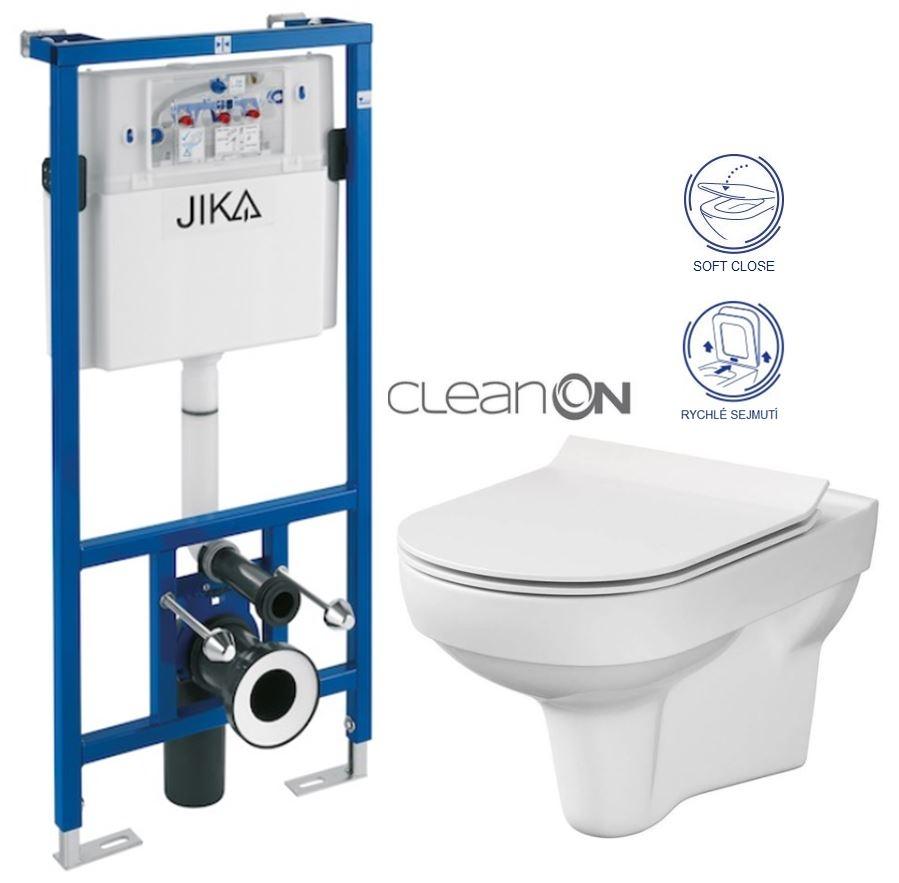 predstenový inštalačný systém bez tlačidla + WC CERSANIT CITY NEW CLEANON + WC SEDENIE SLIM (H895652 X CI2)