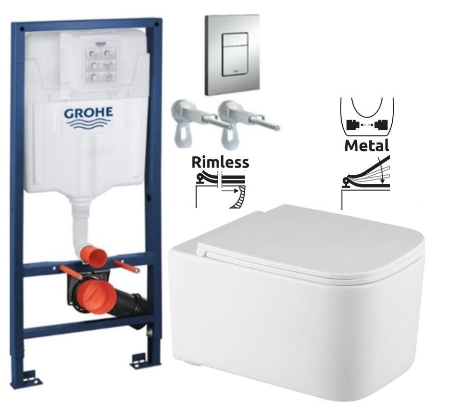 Rapid SL pre závesné WC 38528SET s chrómovou doskou + WC REA Tino Rimlesss + SEDADLO (38772001 TR1)
