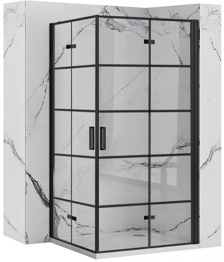 REA/S - Sprchovací kút Moliere dvere / dvere 100x100 BLACK (MOLDD100100B)