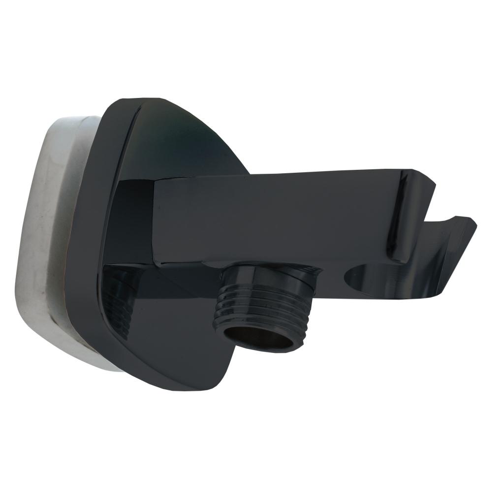 SLEZAK-RAV - Držiak sprchy s vývodom pre hadicu čierna matná, Farba: čierna matná (MD0615CMAT)