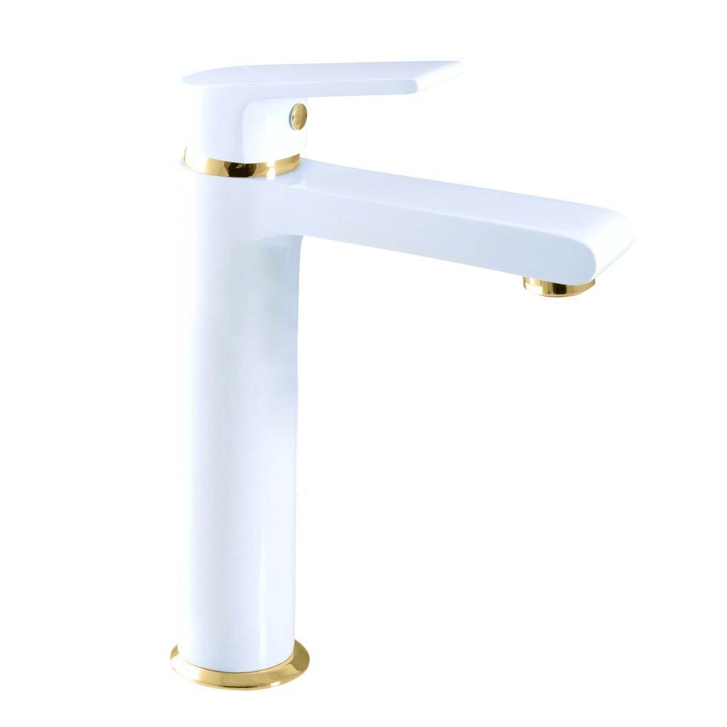 SLEZAK-RAV - Vodovodné batérie umývadlová, vysoká COLORADO biela / zlato, Farba: biela / zlato, Rozmer: 3/8 '' (CO130.0BZ)