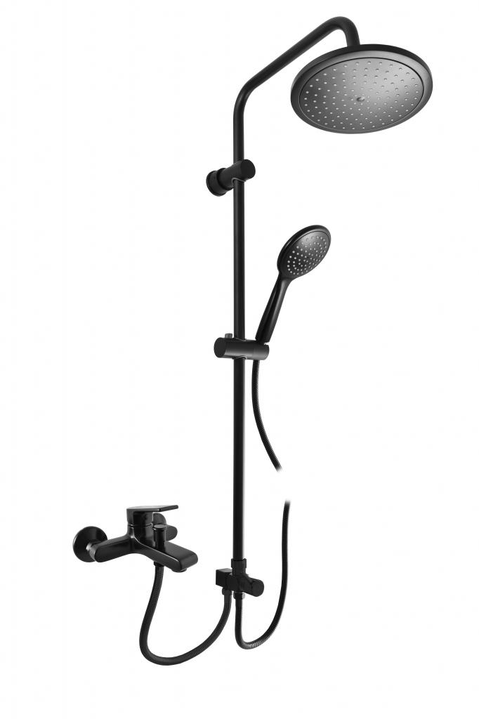 SLEZAK-RAV - Vodovodné batérie vaňová COLORADO s hlavovou a ručnou sprchou, Farba: čierna matná, Rozmer: 150 mm (CO254.5 / 3CMAT)