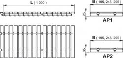 Alcaplast AP1- Prelivové rošt bez protišmyku, výška 25mm, šírka, 195mm, dĺžka 1000mm (AP1-195-1000)