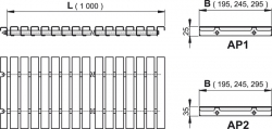 Alcaplast AP2- Prelivové rošt bez protišmyku, výška 35mm, šírka, 195mm, dĺžka 1000mm (AP2-195-1000)