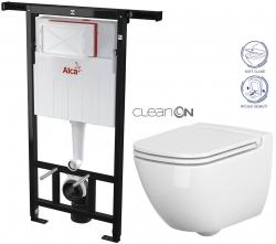 ALCAPLAST  Jádromodul - predstenový inštalačný systém bez tlačidla + WC CERSANIT CLEANON CASPIA + SEDADLO (AM102/1120 X CP1)