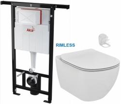 ALCAPLAST  Jádromodul - predstenový inštalačný systém bez tlačidla + WC Ideal Standard Tesi se sedlem RIMLESS (AM102/1120 X TE2)