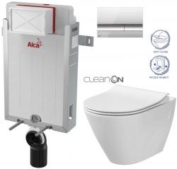 ALCAPLAST  Renovmodul - predstenový inštalačný systém s chrómovým tlačidlom M1721 + WC CERSANIT CLEANON CITY (AM115/1000 M1721 CI1)