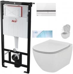 ALCAPLAST  Sádromodul - predstenový inštalačný systém s bielym / chróm tlačidlom M1720-1 + WC Ideal Standard Tesi so sedadlom SoftClose, AquaBlade (AM101/1120 M1720-1 TE1)