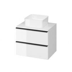 CERSANIT - Skrinka VIRGO 60 biela pod umývadlo na dosku s čiernymi úchytmi (S522-019)