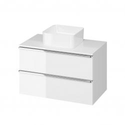 CERSANIT - Skrinka VIRGO 80 biela pod umývadlo na dosku s chrómovými úchytmi (S522-026)