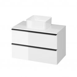 CERSANIT - Skrinka VIRGO 80 biela pod umývadlo na dosku s čiernymi úchytmi (S522-027)