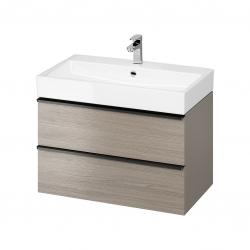CERSANIT - Umývadlo skrinka VIRGO 80 sivý dub s čiernymi úchytmi (S522-029)
