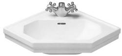DURAVIT - 1930 Jednootvorové rohové umývadielko s prepadom, 595 mmx450 mm, biele – umývadielko, s WonderGliss (07934200001)
