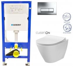 GEBERIT DuofixBasic s chrómovým tlačidlom DELTA51 + WC CERSANIT CLEANON CITY (458.103.00.1 CI1)