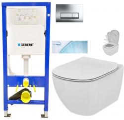 GEBERIT DuofixBasic s chrómovým tlačidlom DELTA51 + WC Ideal Standard Tesi so sedadlom SoftClose, AquaBlade (458.103.00.1 51CR TE1)
