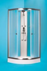 HOPA - Štvrťkruhový sprchovací box GRANADA - Farba rámu zásteny - Hliník chróm, Rozmer A - 90 cm, Rozmer B - 90 cm, Vanička HL - Akrylové vanička (OLBGRA90CMBV + OLBGRA90V)