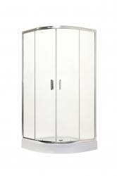 HOPA - Štvrťkruhový sprchovací kút s vaničkou BILBAO - Farba rámu zásteny - Hliník chróm, Rozmer A - 90 cm, Rozmer B - 90 cm, Smer zatváranie - Univerzálny Ľavé / Pravé, Výplň - Pear - 5 mm (OLBBIL90CP)