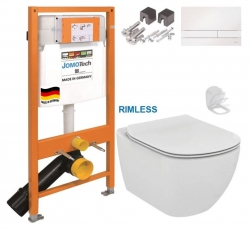 JOMOTech modul pre závesné WC s bielou doskou + WC Ideal Standard Tesi se sedlem RIMLESS (174-91100900-00 TE2)