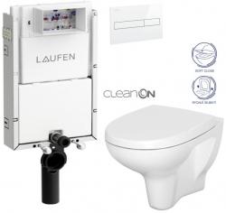 LAUFEN Podomít. systém LIS TW1 SET s bielym tlačidlom + WC CERSANIT ARTECO CLEANON + SEDADLO (H8946630000001BI AT1)