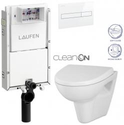 LAUFEN Podomít. systém LIS TW1 SET s bielym tlačidlom + WC CERSANIT CLEANON PARVA + SEDADLO (H8946630000001BI PA1)
