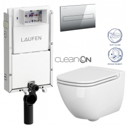 LAUFEN Podomít. systém LIS TW1 SET s chrómovým tlačidlom + WC CERSANIT CLEANON CASPIA + SEDADLO (H8946630000001CR CP1)