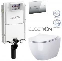 LAUFEN Podomít. systém LIS TW1 SET s chrómovým tlačidlom + WC CERSANIT ZEN CLEANON + SEDADLO (H8946630000001CR HA1)