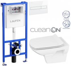 LAUFEN Rámový podomietkový modul CW1 SET s bielym tlačidlom + WC CERSANIT CLEANON CARINA + SEDADLO (H8946600000001BI CA3)