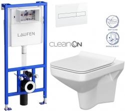 LAUFEN Rámový podomietkový modul CW1 SET s bielym tlačidlom + WC CERSANIT CLEANON COMO + SEDADLO (H8946600000001BI CO1)