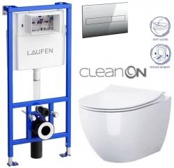 LAUFEN Rámový podomietkový modul CW1 SET s chrómovým tlačidlom + WC CERSANIT ZEN CLEANON + SEDADLO (H8946600000001CR HA1)