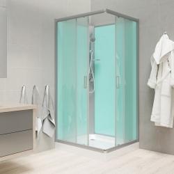 MEREO - Sprchový box, štvorcový, 90cm, satin ALU, sklo Point, zadne steny zelené, SMC vanička, bez striešky (CK34122B)