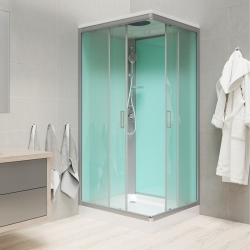 MEREO - Sprchový box, štvorcový, 90cm, satin ALU, sklo Point, zadne steny zelené, SMC vanička, so strieškou (CK34122BS)