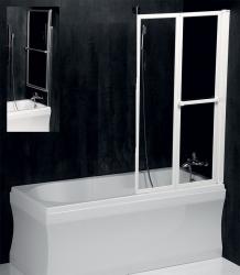 POLYSAN - LANKA2 pneumatická vaňová zástena 830mm, biely rám, číre sklo (37517)