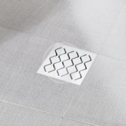 RAVAK - Příslušenství Plastový podlahový vpust s mriežkou z nehrdzavejúcej ocele SN501, 105 mmx105mm/50 mm (X01435)