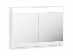 RAVAK - Step Zrkadlová skrinka MC, 1000x740x150 mm, 2 dvierka, s LED osvetlením, lesklá biela (X000001421)