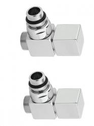 SAPHO - CUBE pripojovacia sada ventilov ručná rohová, brúsená nerez (CP4510)