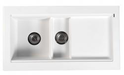 SAPHO - Granitový zabudovateľný drez s odkvapom a vaničkou 95,8x53,4 cm, biela (GR1301)