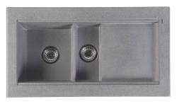 SAPHO - Granitový zabudovateľný drez s odkvapom a vaničkou 95,8x53,4 cm, sivá (GR1303)