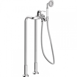 TRES - Vaňová batéria s vodovodnej prípojky na podlahe. Ručná sprcha proti usa. vôd. kameňa. Flexi hadica s dvojitým opletom (24219402)