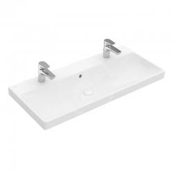VILLEROY & BOCH - Avento Umývadlo nábytkové 1000x470 mm, s prepadom, 2 otvory na batériu, CeramicPlus, alpská biela (4156A4R1)