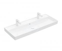VILLEROY & BOCH - Collaro Umývadlo nábytkové 1200x470 mm, s prepadom, 2 otvory na batériu, CeramicPlus, alpská biela (4A33C4R1)