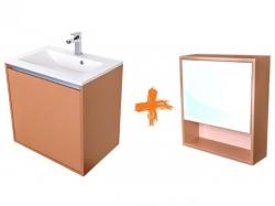 VÝPRODEJ - Amsterdam umývadlová skrinka šírky 60, 1x šuplík, metallic + umývadlo + galerka (CA.U1B.133.060UMG)