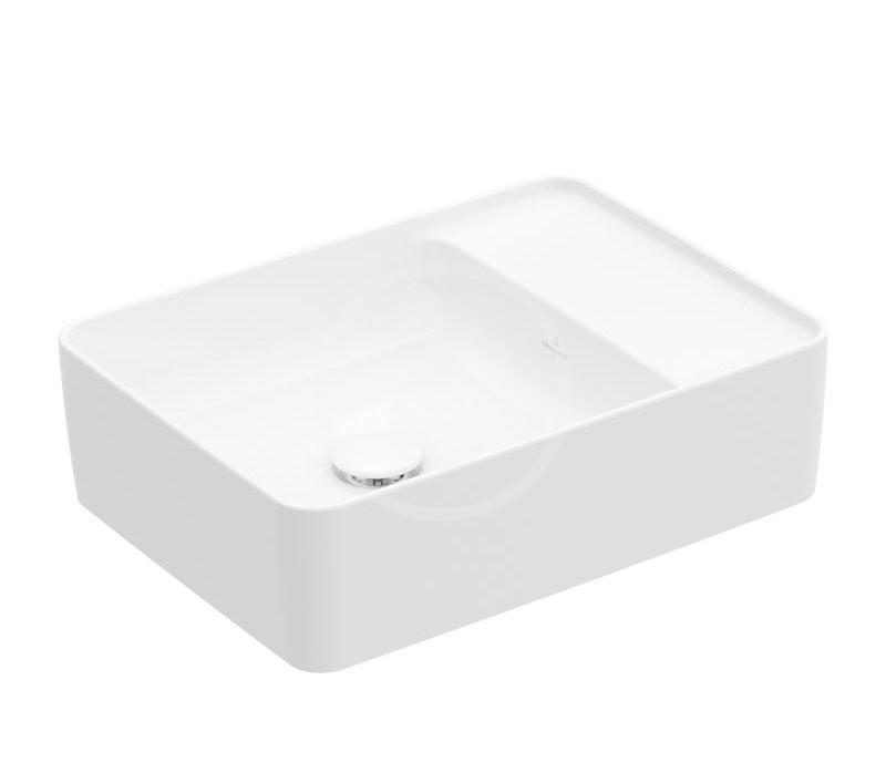 VILLEROY & BOCH - Collaro Umývadlo na dosku, 510x380 mm, bez prepadu, bez otvoru na batériu, CeramicPlus, Stone White (4A1753RW)