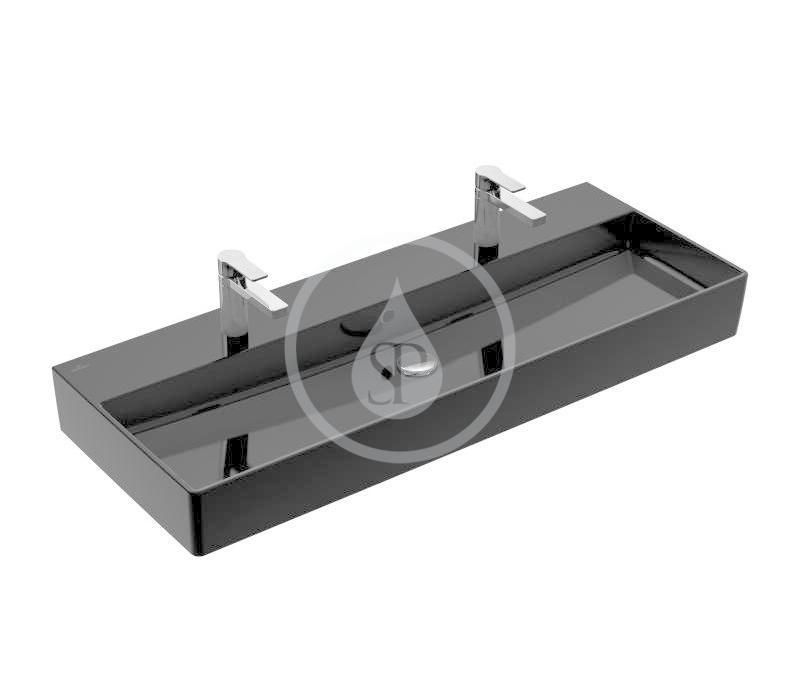 VILLEROY & BOCH - Memento 2.0 Dvojumývadlo 1200x470 mm, s prepadom, 2 otvory na batériu, CeramicPlus, Glossy Black (4A22C4S0)
